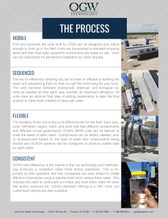 "Flyer created for Oil & Gas Water Technology, based off the look of their website, back, 8.5""x11"". 2015."