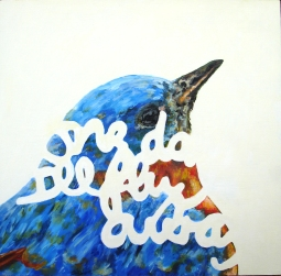 """One Day I'll Fly Away"" Oil on panel, 12""x12"". 2011."