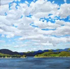 """Lake Jocassee"" Oil on panel, 8""x8"". 2011."