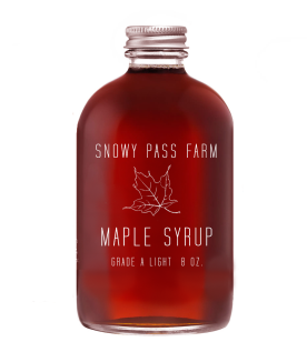 Sample label for Snowy Pass Farm maple syrup bottle. 2016.